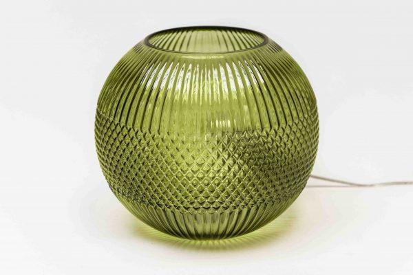 Lamp glasbol olijfgroen 23x23cm