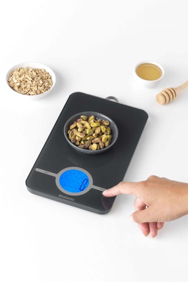 Brabantia keukenweegschaal digitaal Tasty+ Dark grey